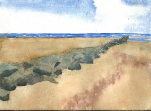 «Plage de berck sur mer». Aquarelle. 20x13 cm