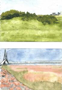 «Campagne près du Havre». Aquarelle. 20x13 cm